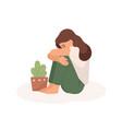 sad young girl flat bad mood vector image