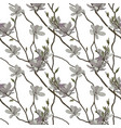 seamless pattern branches and flowers of vector image vector image