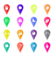 set of colorful map pointers with sport icons vector image