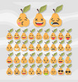 set of cute fruit smiley pear emoticons vector image vector image