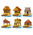 set of different wooden house vector image
