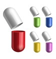 Set of pills opened in two halfs vector image vector image