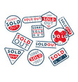 set sold out stamps vector image