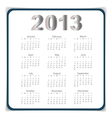 Simple 2013 year calendar eps10 vector image vector image