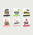 sketch mexican food posters vector image
