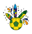 soccer ball with brazil feathers vector image vector image