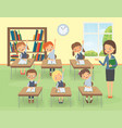 teacher with pupils in a classroom at a lesson vector image vector image