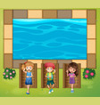 three kids having fun by the pool vector image vector image