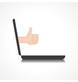 thumbs up or like symbol comes from laptop screen vector image vector image