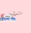 travel postcard japanese card with sakura flowers vector image