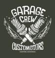 vintage motorcycle club garage spark plug print vector image vector image
