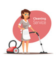 woman character vacuuming the floor vector image vector image