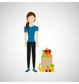 woman exercising healthy food bag vector image vector image