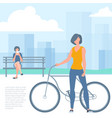 woman with bicicle vector image vector image