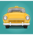 Retro yellow taxi Front view vector image