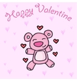 Cute Teddy Bear with hearts background vector image