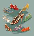 set of retro vintage female shoes vector image