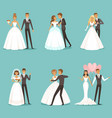 beautiful wedding couple characters bride and vector image