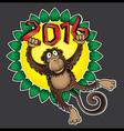 2016 Year of the monkey cartoon vector image