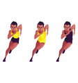 a set of black girl with short hair that runs vector image vector image