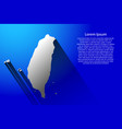 abstract map of taiwan with long shadow on blue vector image