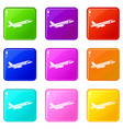 airplane taking off set 9 vector image