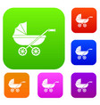 baby carriage set color collection vector image vector image