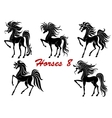 Black horse stallions set vector image vector image