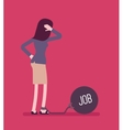 Businesswoman chained with a weight Job vector image vector image