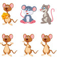 cartoon funny mouse collection set vector image vector image