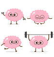 cartoon human brain running weight lifting vector image