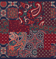 cashmere paisley silk fabric patchwork vector image vector image