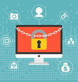 chain and lock on computer screen vector image vector image