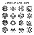 computer chips and electronic circuit icons in vector image vector image