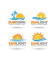 creative sun sea logo design bundle vector image