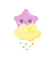 cute kawaii star with baby shower cloud vector image vector image