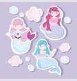 cute little mermaids princess bubbles characters vector image vector image