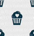 Cute Lovely Cupcake with Heart icon sign Seamless vector image