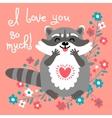 Cute raccoon confesses his love vector image vector image