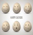 easter eggs with hand drawn faces 2902 vector image vector image