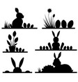 easter silhouettes with cute banny and eggs vector image
