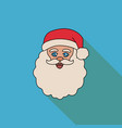 face of santa claus on a blue background vector image vector image