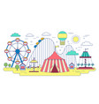 flat line amusement circus park isolated on white vector image