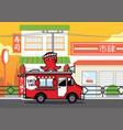 food truck selling japanese takoyaki fsnack vector image vector image