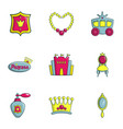 girl equipment icons set flat style vector image