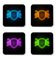 glowing neon cyber security icon isolated on vector image vector image