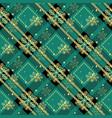 golden snowflakes green tartan fabric texture vector image