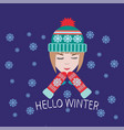 greeting card and invitation with cute girl with vector image