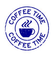 grunge blue coffee time word with cup icon round vector image vector image