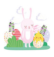 happy easter rabbit and chicken in eggshell eggs vector image vector image